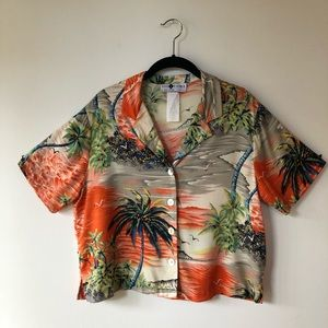 Vintage 90's Crop Top Hawaiian Print Palm Trees